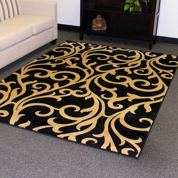 Tiffany Design 168 Black Vine Swirl Area Rug 5x7