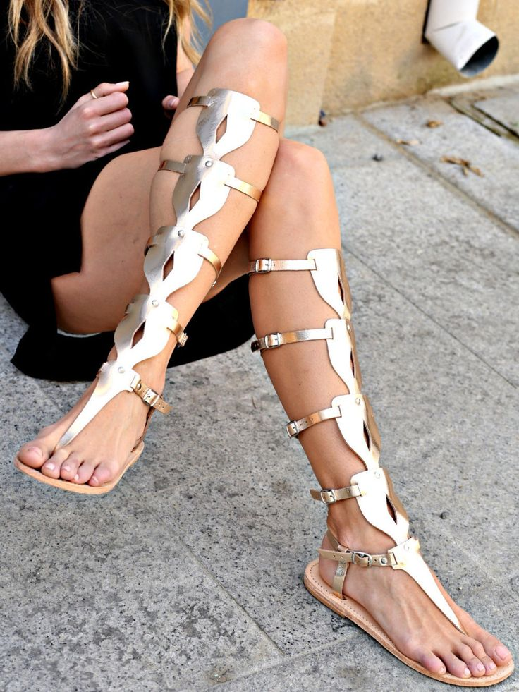 Sandals- Women's Gladiator Sandals, Greek Sandals, Knee High Oplitis Sandals, Women's Shoes, Strappy Sandals by TheMerakiCompany on Etsy https://www.etsy.com/listing/250289242/sandals-womens-gladiator-sandals-greek