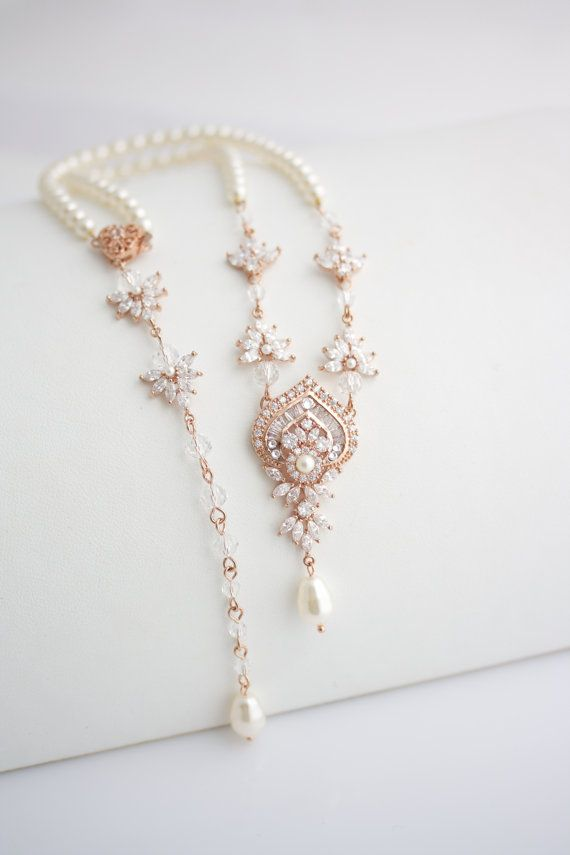 Wedding Necklace Bridal Jewelry Rose Gold Backdrop Necklace
