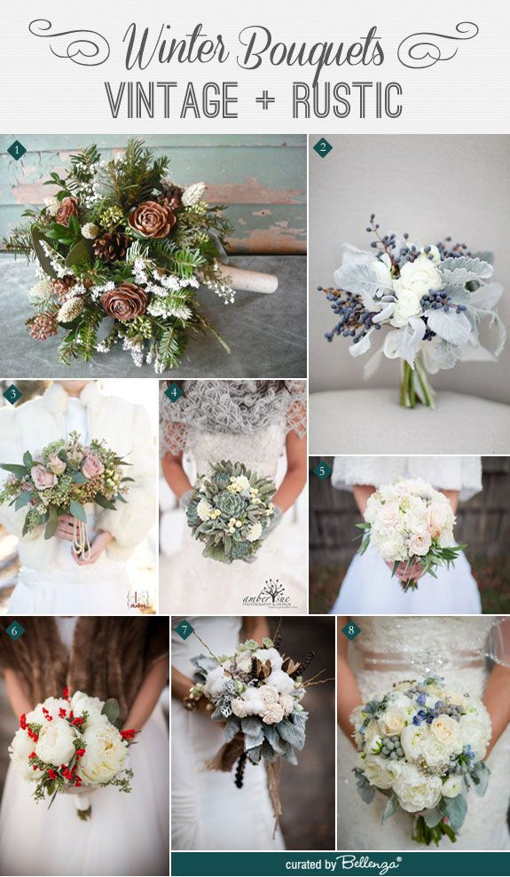 Winter bouquets that are vintage and rustic with dusty miller, eucalyptus, cotton, pinecones, and other winter flowers. See the details of the post: http://www.bellenza.com/wedding-ideas/decorate/romantic-winter-bouquets-with-a-vintage-rustic-style.html #winterbouquets