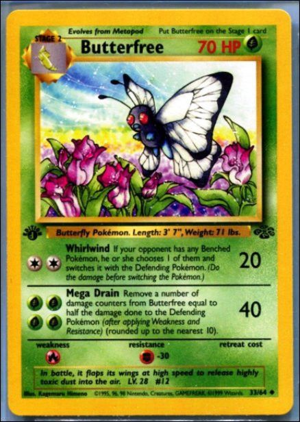 """You are looking at a TOUGH 1st Edition Error Find; BUTTERFREE 33/64 1st Edition Pokemon Jungle, First Edition. The """"1"""" underneath Edition printed as a """"d"""" This Rare Error Card is a cornerstone for thi"""