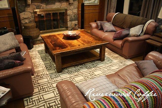 48u201d X 48u201d Coffee Table, With Grainery Board Shelving, A 2u201d Thick Top, 4u201d X 4u201d  Windbrace Legs, Old Growth Hemlock, Premium Epoxy/matte Polyurethane U2026