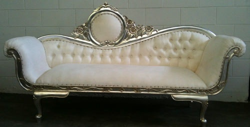 Wedding Loveseat: WHITE & SILVER CHAISE LOUNGE SOFA LOVESEAT KING THRONE