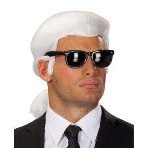 Perruque karl blanche queue de cheval deluxe homme et ados, perruque karl stylée imitation de la coiffure de karl lagerfeld, le célèbre couturier