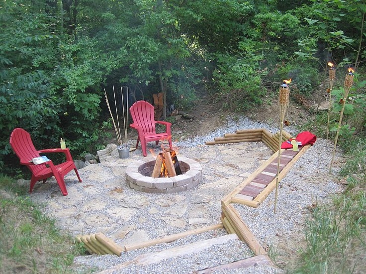 creek stone patio fire pit branch gravel steps retaining wall - Fire Pit Ideas Patio