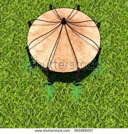 view of tent from afar with green grass. Top. Natural light. 3D rendering, 3D illustration