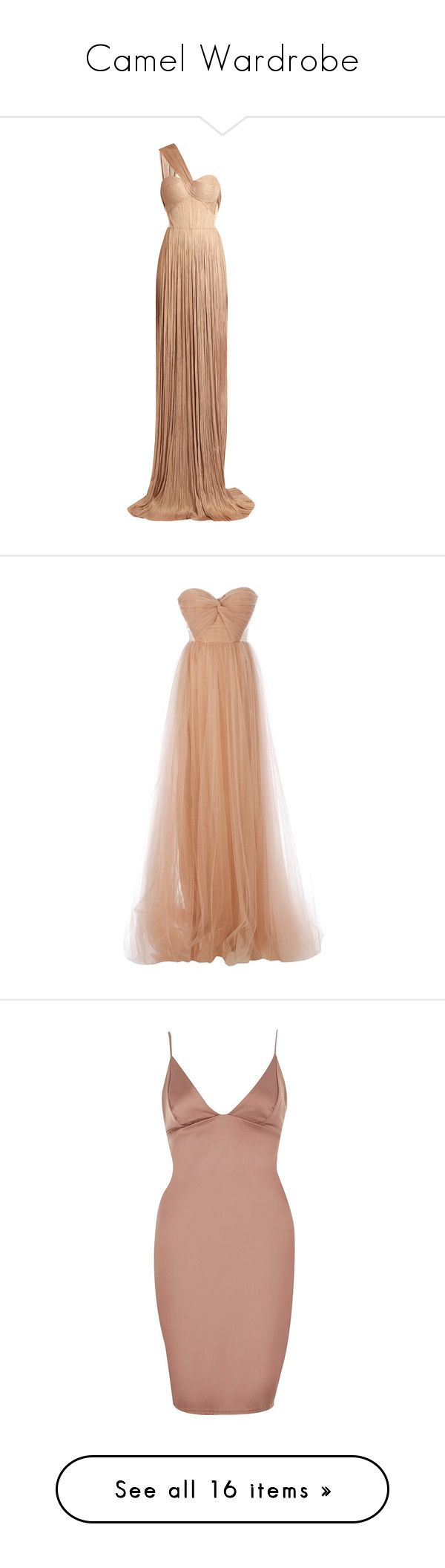 """Camel Wardrobe"" by alyssawui ❤ liked on Polyvore featuring dresses, gowns, long dresses, vestidos, nude, long wrap dress, long white evening dress, white corset dress, white tulle dress and white gown"
