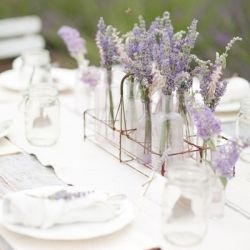 Nothing is sweeter than vintage milk bottles and fresh lavender for a table setting!