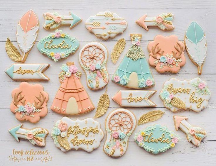 Aqua Peach Amp Gold Boho Chic Cookies Claudia Cookies