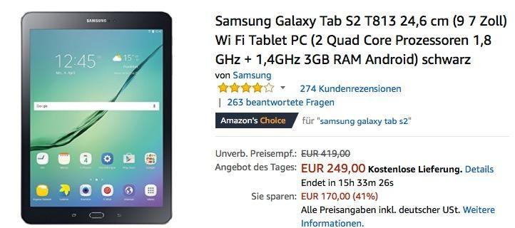 Samsung Galaxy Tab S2 T813 24 6 Cm 9 7 Zoll Wi Fi Tablet Pc Samsung Tablet Zoll