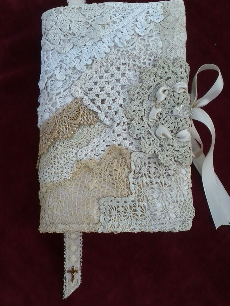Journal or Bible cover made from layering vintage lace scraps on foundation fabric.