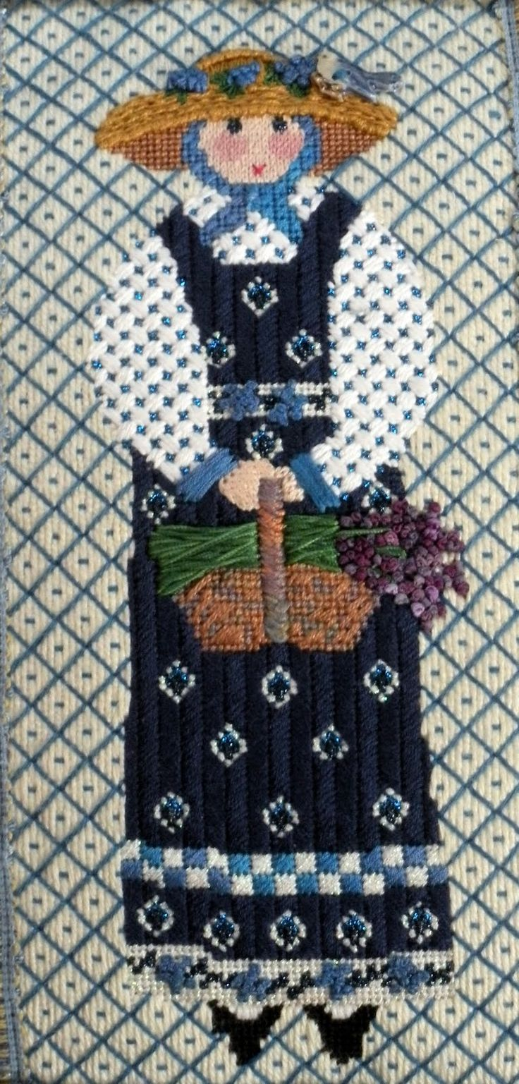 Cooper Oaks Provencal lady with lavender needlepoint, Linda Ragno artist