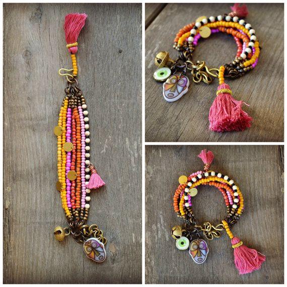 jordan retro 88 Rustic Ethnic multi strand bracelet Hippie Boho by BeadStonenSkin