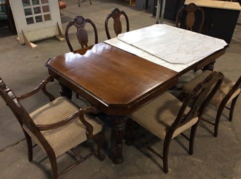 Mahogany Dining Table W Leaf Faux Marble Cover Chairs Beautifully Carved Base