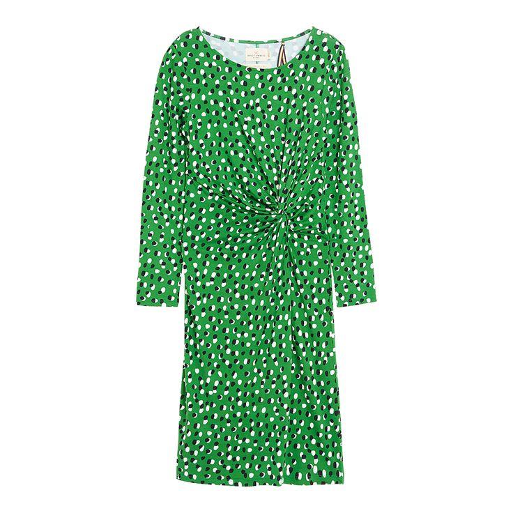 Draperad trikåklänning, Grön, Klänningar, Dam | Lindex