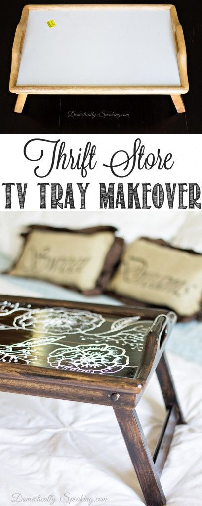 Thrift Store TV Tray Makeover - Domestically Speaking