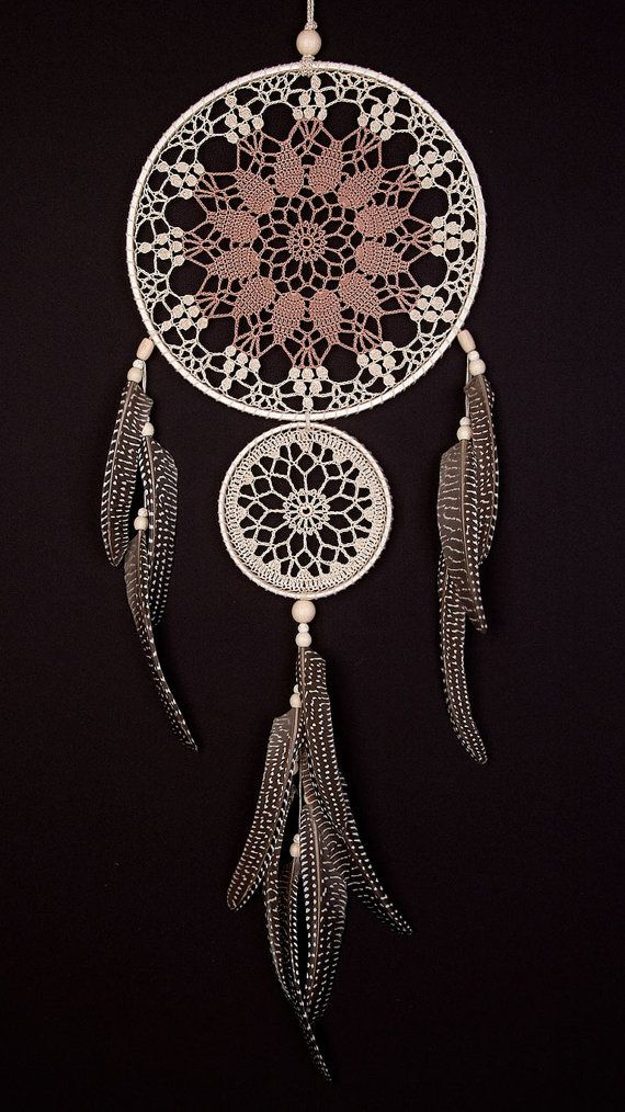 Large Beige Brown Dream Catcher Handmade by DreamcatchersUA