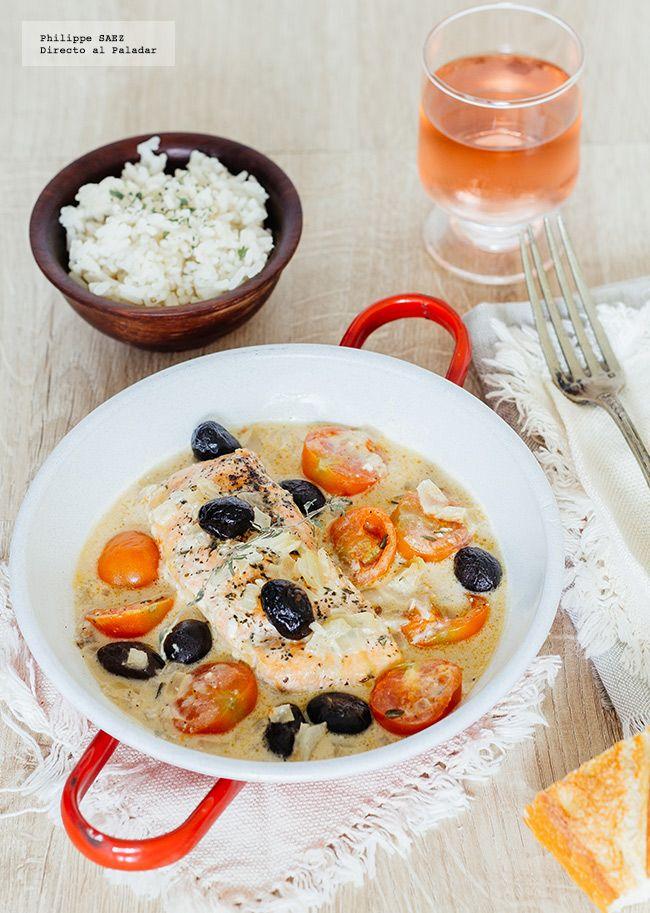 receta de salmón con aceitunas negras y tomates cherry. receta con fotografías del paso a paso y recomendaciones de degustación. Receta de pescados