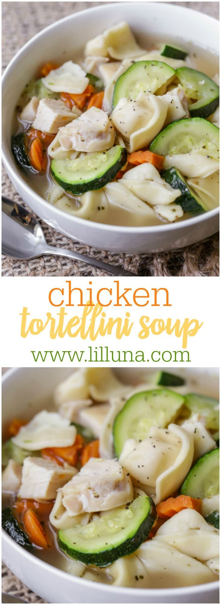Chicken Tortellini Soup - a more flavorful version of Chicken Noodle Soup with cheese tortellini and zucchini.