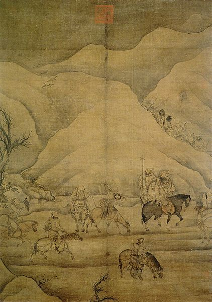 Hunting wild geese (chinese: Sheyan tu), China, Yuan dynasty, late 13th/early 14th century. Ink and paint on silk, height 131.8 cm, width 93.9 cm. National Palace Museum, Taibei, Inv. no. guhua 000872. The man on the black horse has a certain similarity to Temür Khan (1295-1307)