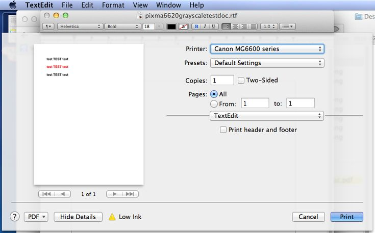"1) How to set the Canon Pixma to print grayscale instead of color for Mac. My post on Canon forum - These steps worked for my 2014 Macbook Air, OSX ver 10.8.5, current Canon drivers installed, Canon Pixma MG 6620, connected via wifi  (Canon doesn't provide this setting in the Canon Quick Menu and doesn't clarify whether Grayscale only uses black ink and not color ink).  Use the ""File"" - ""Print"" menu in TextEdit to set it globally on Mac. canongraysettings1a.png"