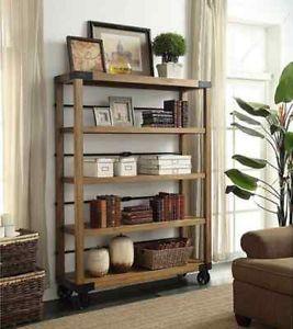 Vintage Industrial 5 Tier Portable Bookshelf Display Shelving Storage  Bookcase