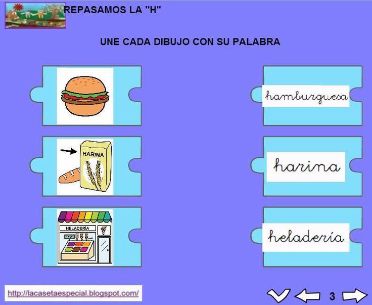 MATERIALES - Juegos LIM de lectoescritura: h  Se trata de juegos hechos con el editor de actividades EdiLim para trabajar la lectoescritura de manera divertida. Cada juego trabaja una letra y encontraremos actividades como: unir imagen con palabra, juego de memoria, ordenar sílabas y ordenar palabras para formar frases.  Descomprimir la carpeta JOC_EDILIM_h.zip y pulsad dos veces sobre el archivo repasamos_la_h.html.  http://arasaac.org/materiales.php?id_material=1199