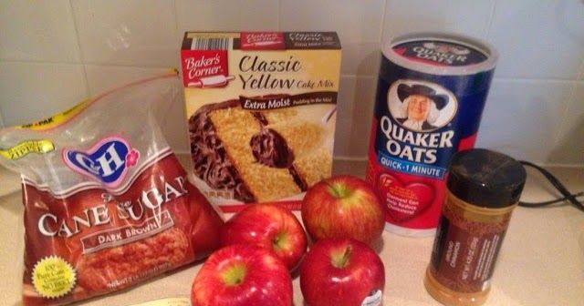 Ingredients:   1 box of yellow cake mix   4 tablespoon of butter melted   4 apples   2 tablespoon cinnamon   (Following ingredients can be ...