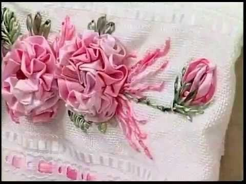 Como Fazer : Bordardos de Rosas c/ Fitas em Toalhas [ Passo a Passo ] - YouTube