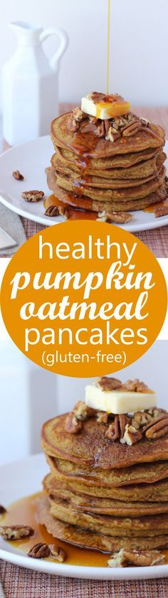 Healthy Pumpkin Oatmeal Pancakes! Easy, delicious gluten-free pancakes | YUM! Let's make these gluten free pumpkin pancakes for breakfast this Saturday!