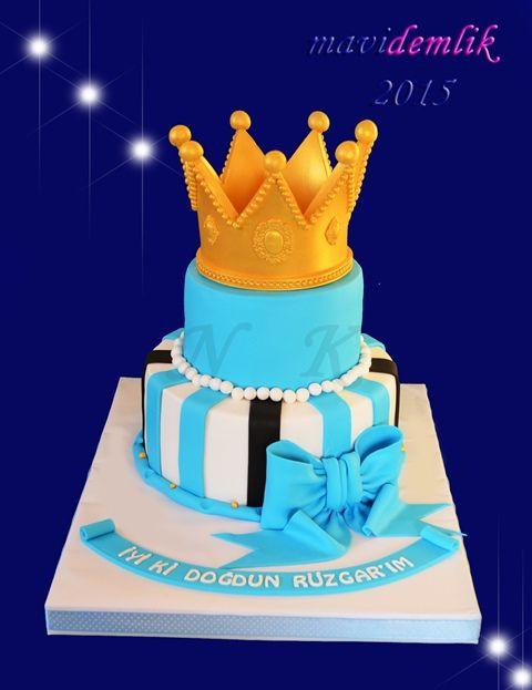 mavi demlik mutfağı- izmir butik pasta kurabiye cupcake tasarım- şeker hamurlu-kur: RÜZGAR'IN KIRAL TAÇLI 1. YAŞ DOĞUM GÜNÜ PASTASI TA...
