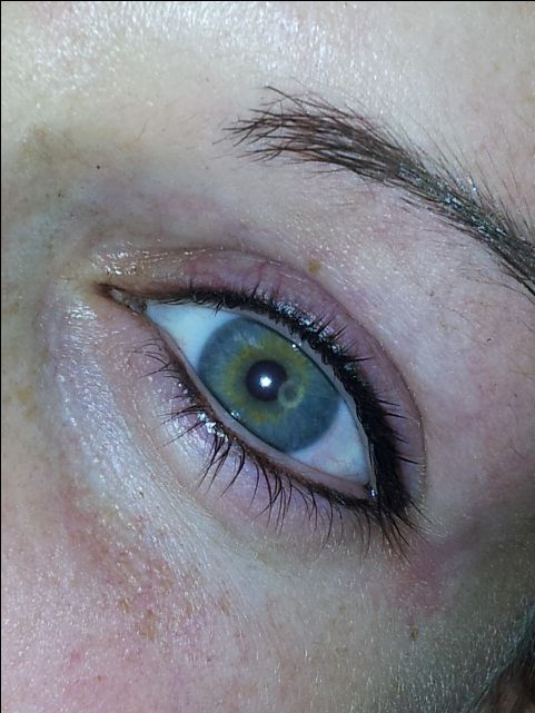 """Permanent Eyeliner... a very natural application. Called a """"Lash Enhancement"""", but applying a simple black line through the lashes using """"Pitch Black"""" pigment.:"""