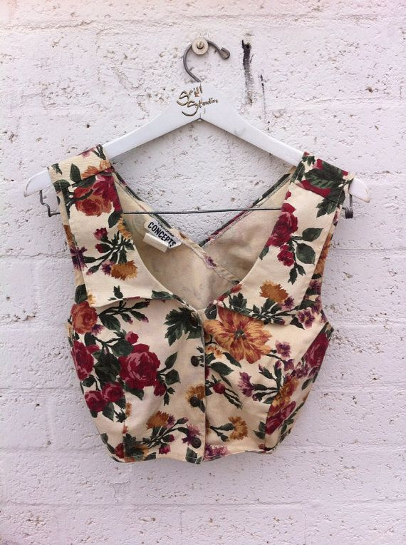 Denim Floral Crop Top