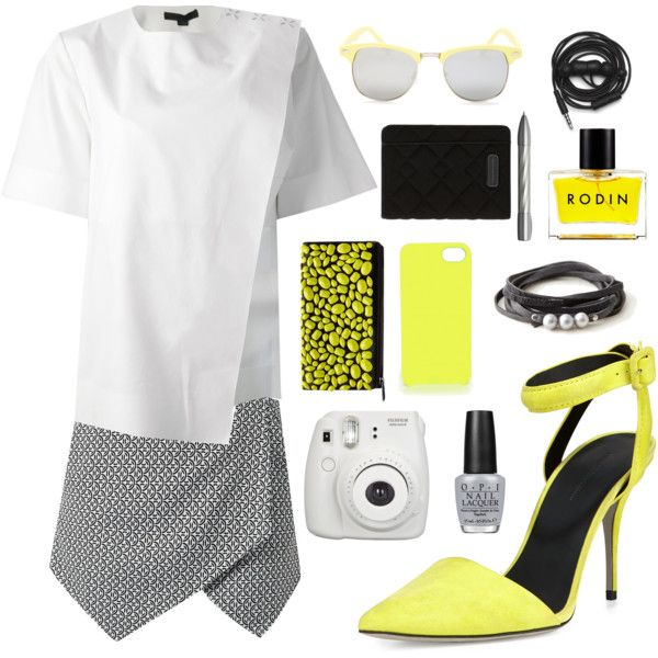 street style: pop the yellow up! by srsstreetcouture on Polyvore featuring polyvore, fashion, style, Alexander Wang, Steffen Schraut, Marc by Marc Jacobs, Steve Madden, Rodin, OPI, Porsche Design and Urbanears