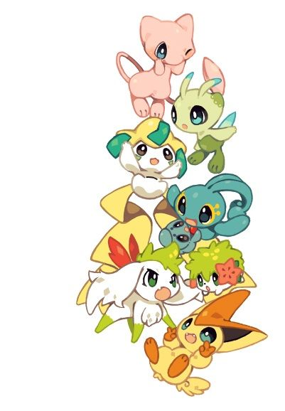 Mew, Celebi, Jirachi, Manaphy, Shaymin sky form, Normal Shaymin, and Victini