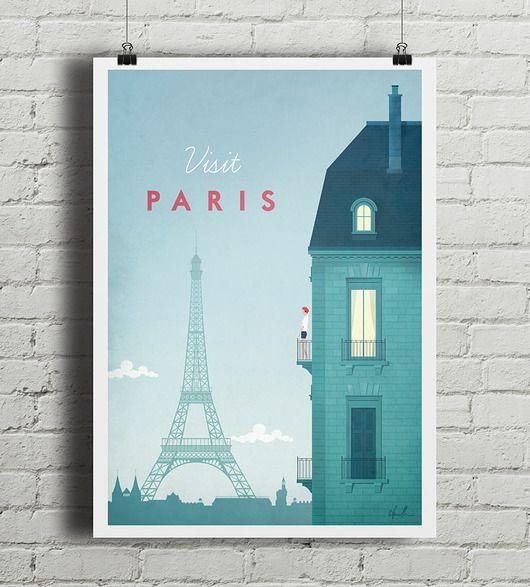 dodatki - plakaty, ilustracje, obrazy - grafika-Paryż - vintage plakat A4