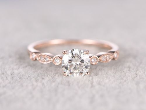 5mm Round Moissanite Engagement Ring Diamond Wedding Ring 14k 18k Rose Gold Halo Marqise Art Deco Prong Set