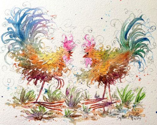 Original Watercolour Painting ' Chicken Duo ' by Sophie Appleton | eBay - I am LOVING this lady's work! I shall be bankrupt if I win all the bids I have placed *gulp*