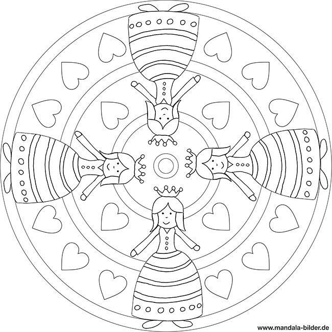 Mandala Prinzessin Mit Krone Und Herzen Mandala Zum Ausdrucken Ausmalen Mandalas Zum Ausmalen