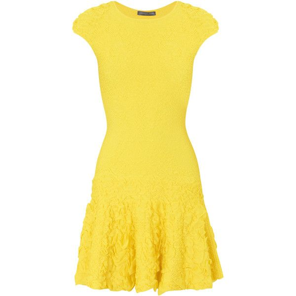 Alexander McQueen Ruffled Knitted Dress ($1,635) ❤ liked on Polyvore featuring dresses, vestidos, alexander mcqueen, short dresses, yellow, short yellow dress, yellow skater skirt, yellow dress and flounce dress
