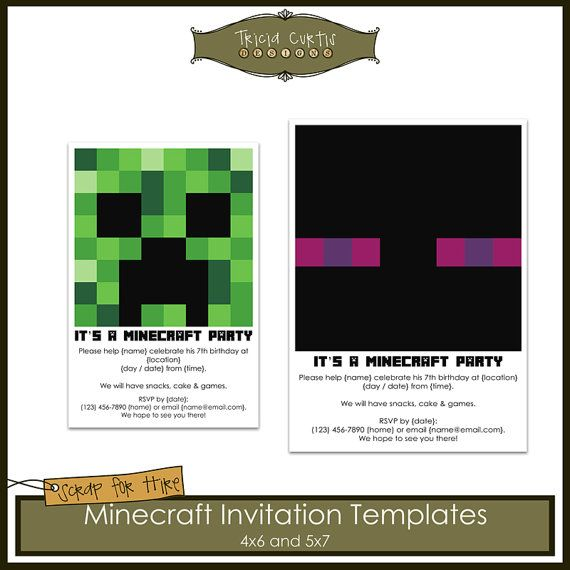 16 best Coles bday images on Pinterest Minecraft stuff, Birthday - mine craft invitation template