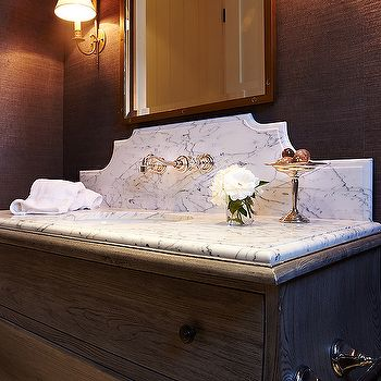 French Powder Room with Brass Accents – Transitional – Bathroom