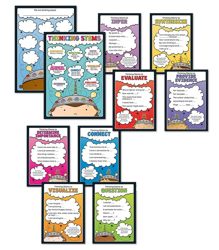 Thinking Stems Bulletin Board Set ~ This colorful, student-friendly Thinking Stems bulletin board set is an exciting new resource to promote critical thinking skills. Eight comprehension strategy charts supply students with examples of thinking stems to use when analysing text in reading, math, and beyond. $