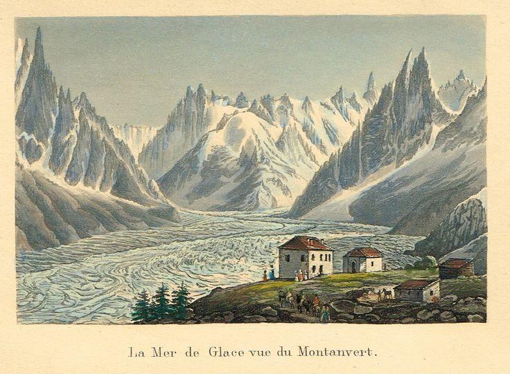 La Mer de Glace vue de Montanvert - Aquatinte XIXe - MAS Estampes Anciennes - MAS Antique Prints