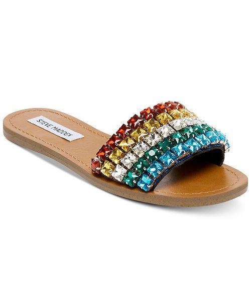 ebae4bf4773 Steve Madden Serenade Rainbow Jeweled Slides in 2019   If the shoe ...