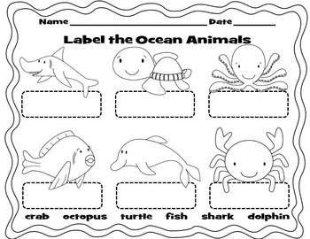 label the ocean animals animals pinterest. Black Bedroom Furniture Sets. Home Design Ideas