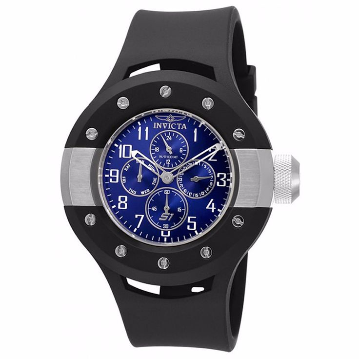 INVICTA MEN'S S1 RALLY BLUE DIAL BLACK SILICONE BAND STAINLESS STEEL CASE CHRONOGRAPH WATCH 17390
