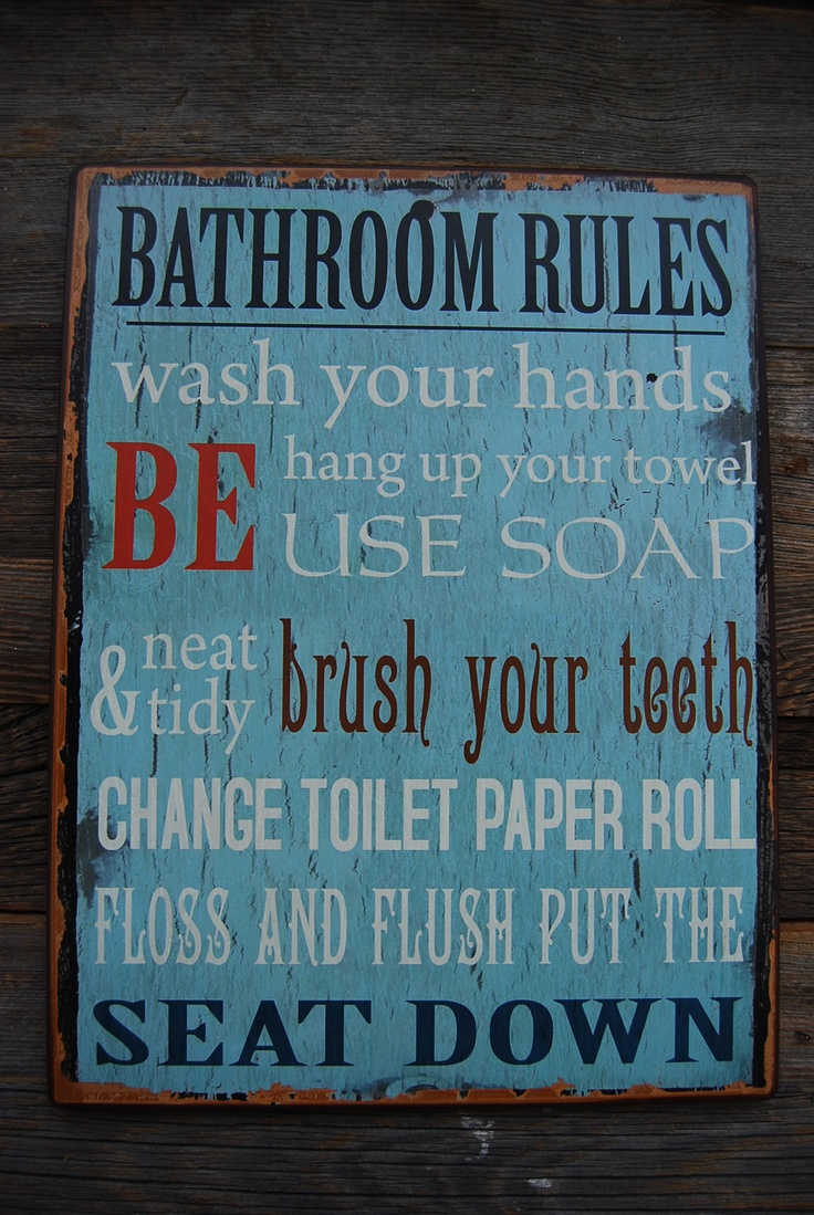 Get the message across with this metal bathroom sign. Duck egg blue.  L35cms.
