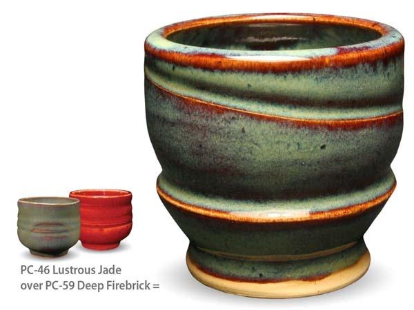 lustrous jade over deep firebrick
