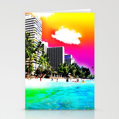 Waikiki Beach Part II Stationery Cards by The Digital Weaver - $12.00